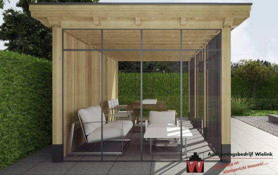 Douglas of eiken overkapping laten bouwen met stalen ramen