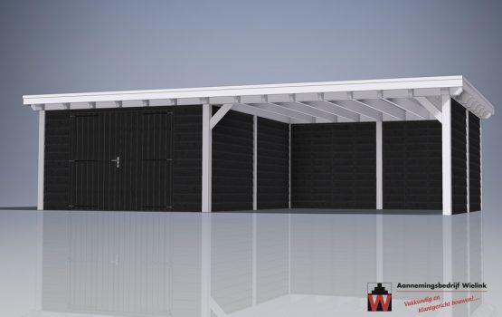 douglas houten schuur met carport - houten carport met schuur op maat gemaakt-2