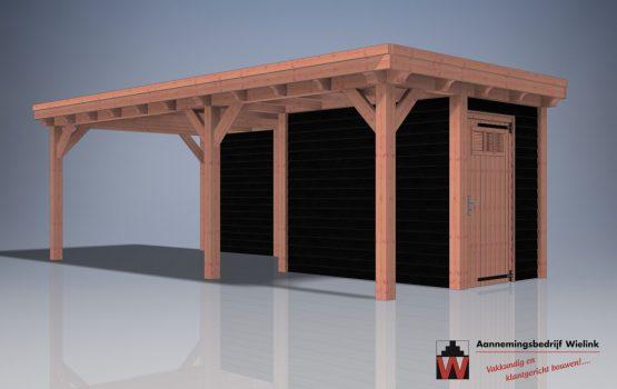 douglas tuinschuur met overkapping - Douglas schuur met overkapping plat dak