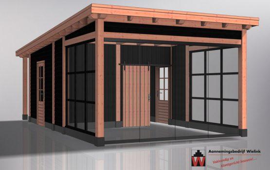 Houten tuinkamer - tuinkantoor - tuinatelier - geisoleerd - exclusieve houtbouw