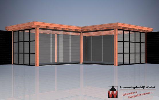 Houten tuinkamer in een hoek - hoekmodel - tuinkantoor - tuinatelier - geisoleerd - exclusieve houtbouw (1)
