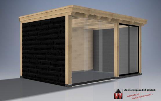eiken hout tuinkamer - tuinkantoor van eikenhout - tuinatelier - geisoleerd - exclusieve houtbouw
