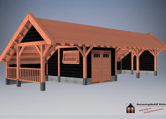 houtbouw wielink kapschuur met berging van douglas of eiken - kapschuur als bouwpakket - kapschuur op maat (8)