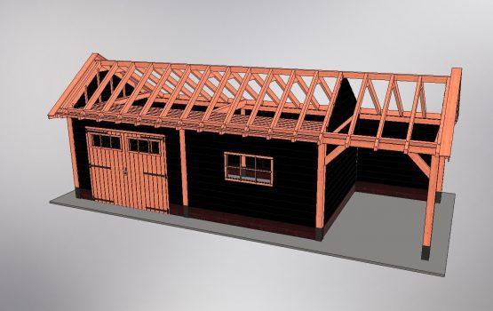 kapschuur constructie met zolder en pen en gatverbinding - Douglas houtbouw