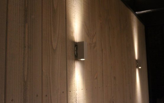 Zwarte douglas overkapping strak model met eiken dakplanken en led verlichting (1)