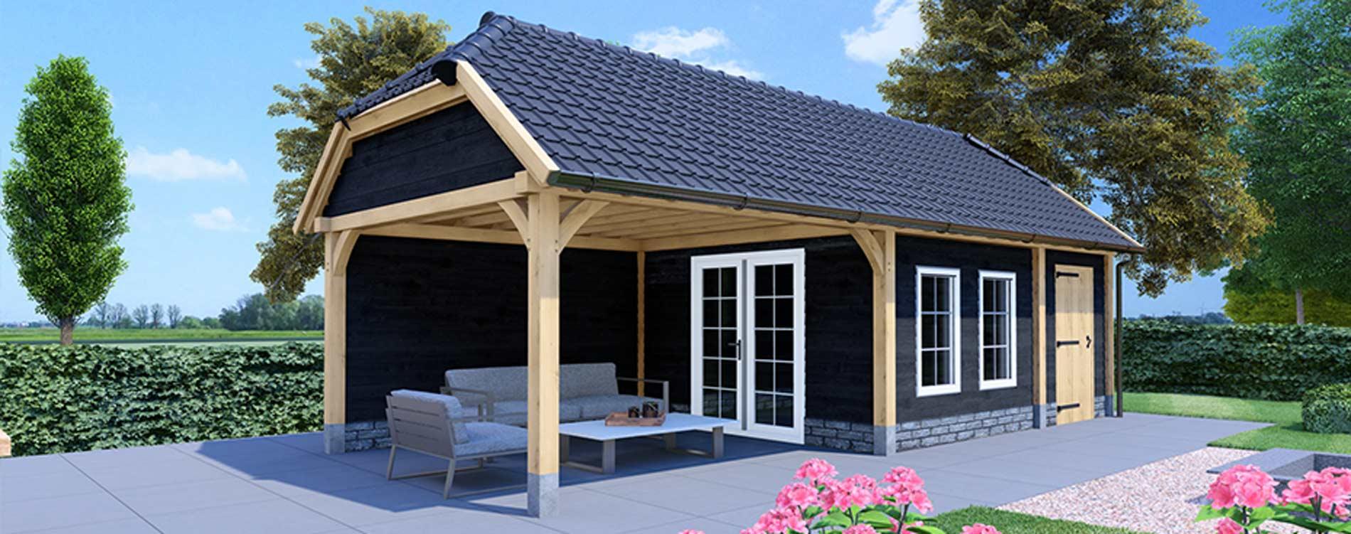 Houten schuur bouwen met wolfskap - wolfseinden - Exclusieve houtbouw aannemersbedrijf Wielink