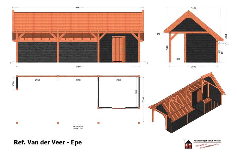 Een gratis bouwtekening laten maken voor een schuur, kapschuur of overkapping. Houtbouw Wielink