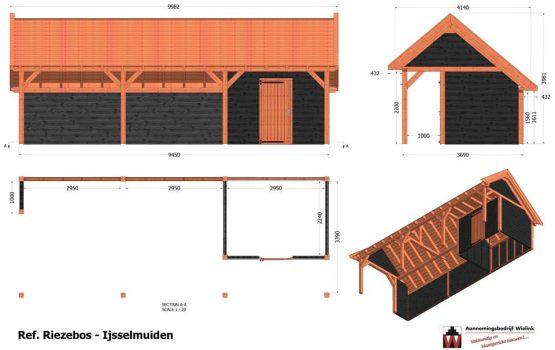 Douglas kapschuur op maat gemaakt als bouwpakket gemaakt door Wielink Houtbouw