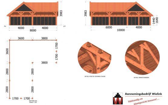 douglas of eiken kapschuur hoekmodel - L-vorm in hoek- exclusieve houtbouw wielink