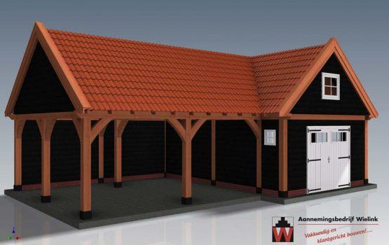 Douglas schuur met overkapping hoekmodel - Houten schuur in hoek met carport - Wielink Houtbouw