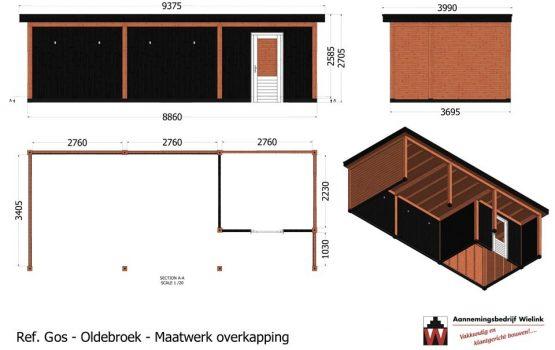 Maatwerk douglas of eiken overkapping met tuinhuis