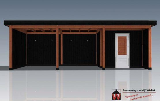 maatwerk tuinhuis met overkapping van douglas hout - Wielink houtbouw