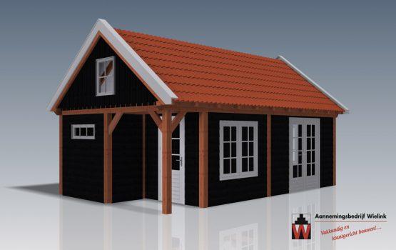 Wielink houtbouw - schuur met zolder - gastenverblijf met vide - douglas of eiken houten schuur