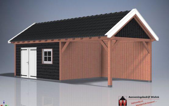 Wielink houtbouw - Houten schuur met overkapping en zolder - Overkapping met berging zadeldak of puntdak