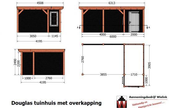 Douglas overkapping met tuinhuis hoekmodel - schuur met overkapping in hoek - zelf bouwpakket - bouwtekening