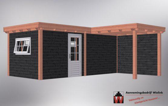 Douglas overkapping met tuinhuis hoekmodel - schuur met overkapping in hoek - zelf bouwpakket