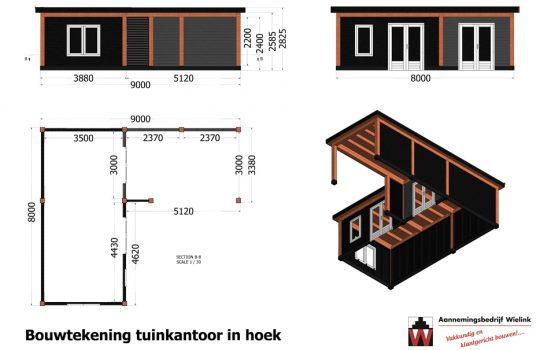 Douglas tuinkantoor in hoekmodel - Hoekmodel tuinhuis met overkapping douglas