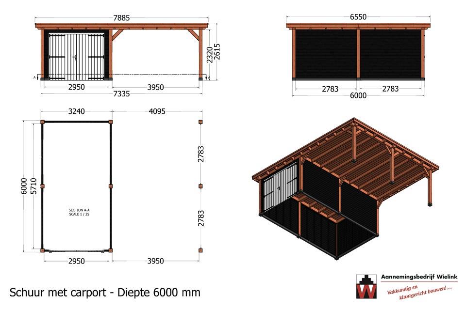 bouwtekening van schuur met carport laten bouwen - Houten carport met schuur op maat - maatwerk carport bouwen - Wielink Houtbouw