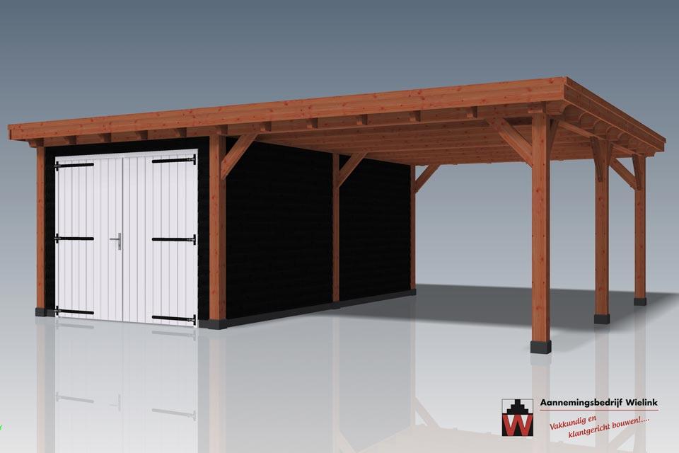 schuur met carport laten bouwen - Houten carport met schuur op maat - maatwerk carport bouwen - Wielink Houtbouw