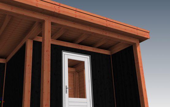 Douglas of eiken tuinhuis met overkapping inpandige berging - wielink houtbouw