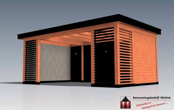 Douglas overkapping met louvre / shutters en moderne uitstraling - Wielink Houtbouw