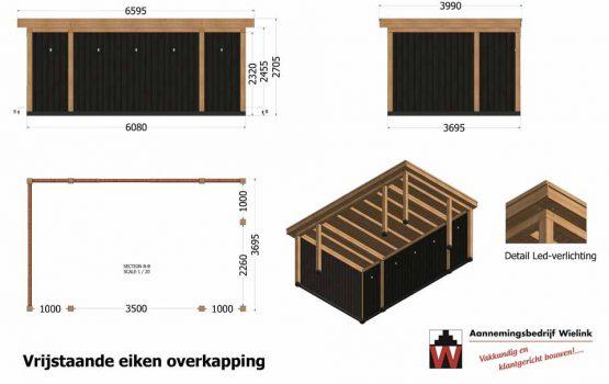 Zwarte eiken overkapping - buitenverblijf met eiken planken - Wielink houtbouw