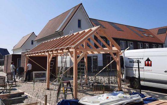 Bouw houten schuur met overkapping - Bouwpakket douglas constructie schuur met overkapping - Wielink Houtbouw (4)